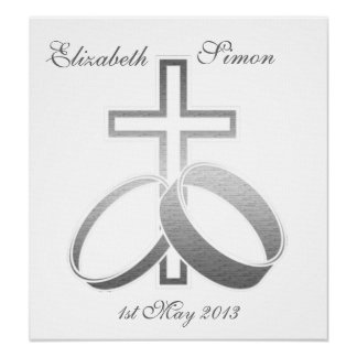 Wedding Rings and Cross Customisable Poster