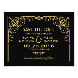 Wedding Save the Date Cards | Art Deco Style 11 Cm X 14 Cm Invitation Card