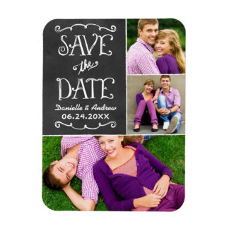 Wedding Save the Date | Chalkboard Collage Rectangular Photo Magnet