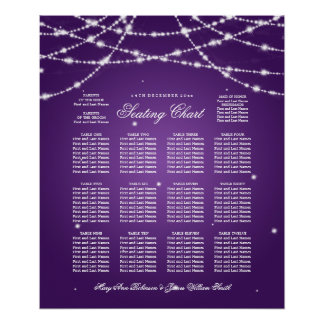 Wedding Seating Chart Sparkling String Purple Poster