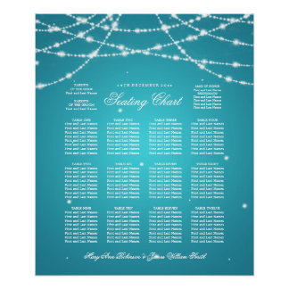 Wedding Seating Chart Sparkling String Turquoise Poster