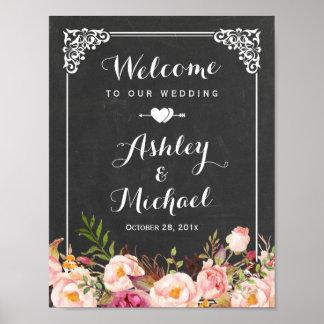 Wedding Sign Classy Vintage Chalkboard Floral Poster