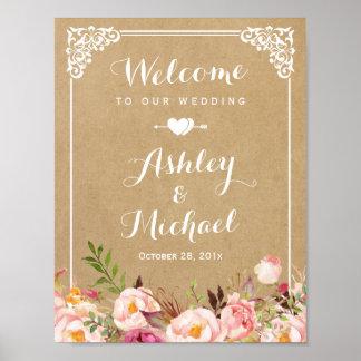 Wedding Sign   Rustic Floral Vintage Frame Kraft Poster