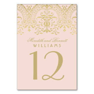 Wedding Table Number | Blush Gold Vintage Glamour Table Card