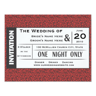 Wedding Ticket! 11 Cm X 14 Cm Invitation Card