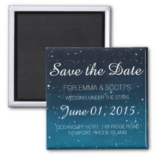 Wedding under the stars Save the Date BLUE Square Magnet