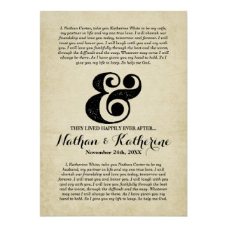 Wedding Vows Black Ampersand Happily Ever After Poster