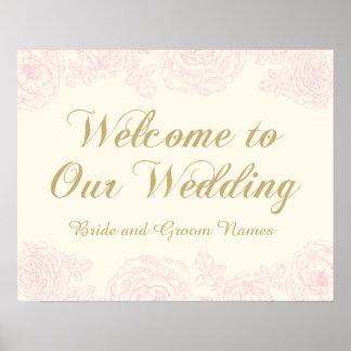 Wedding Welcome Sign   Floral Rose Design Poster