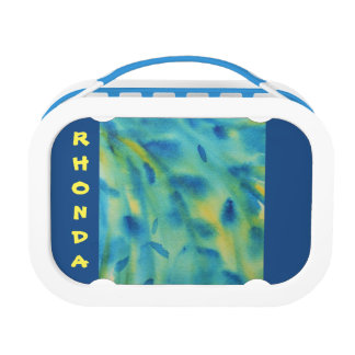 Weeping willow branches abstract watercolor lunch boxes