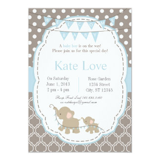 "Welcome Baby Boy Elephant 5"" x 7"" Invitations"