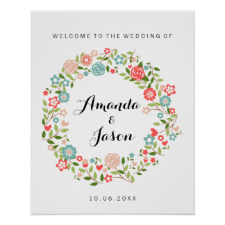 Welcome to our wedding sign   Floral   bothanical Poster