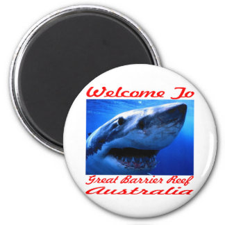 Welcome To The Great Barrier Reef Shark 6 Cm Round Magnet