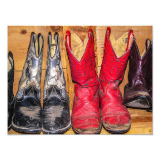 Well Worn Cowboy Boots - Cowgirl - Red Photo Print