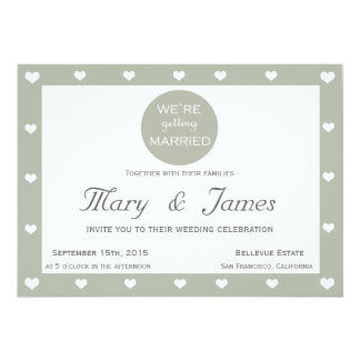 WE'RE GETTING MARRIED & HEARTS (horizontal) 13 Cm X 18 Cm Invitation Card