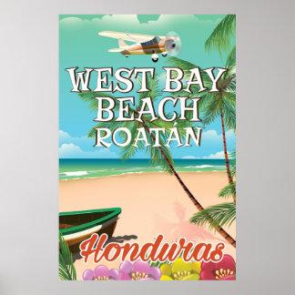 West Bay Beach, Roatán Honduras travel poster