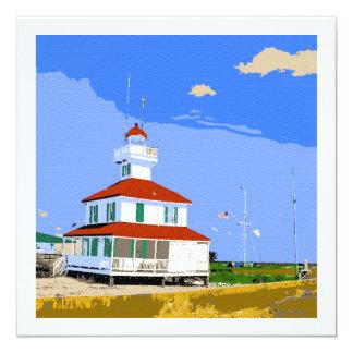 West End Lighthouse Watercolor 13 Cm X 13 Cm Square Invitation Card