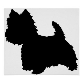 West Highland White Terrier Silhouette Poster