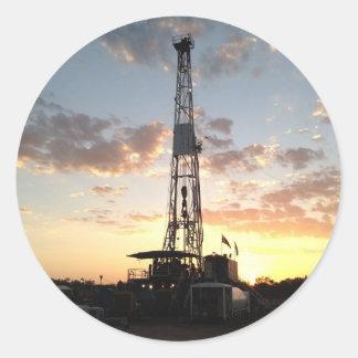 West Texas Drilling Rig Round Sticker