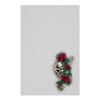Western Skull with Red Roses and Revolver Pistol Customised Stationery