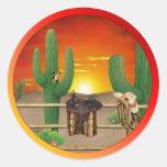 Western Sunrise Round Sticker