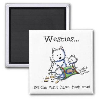 Westie Addict Square White Magnet