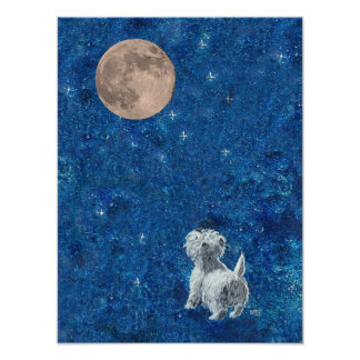 Westie and Full Moon Poster