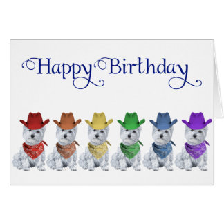 Westie Cowboys All in a Line Greeting Card