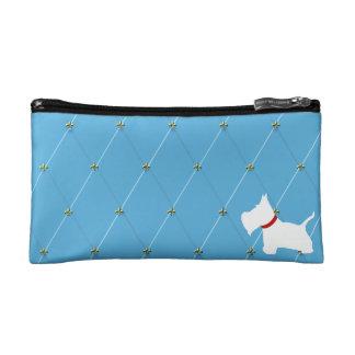 Westie Light Blue Diamonds Cosmetic Bags