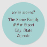 we've moved! family return address label round sticker