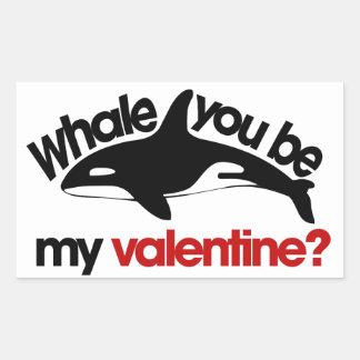Whale you be my Valentine Rectangular Sticker