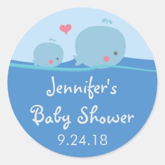 Whales Under the Sea Baby Shower Sticker