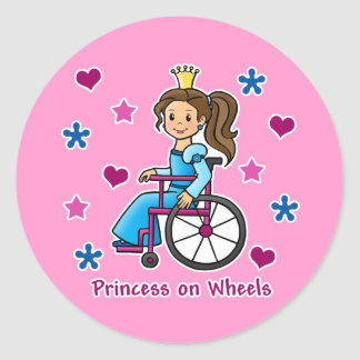 Wheelchair Princess Round Sticker