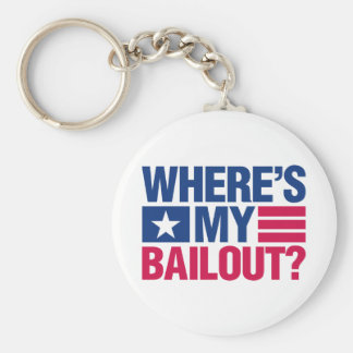 Wheres My Bailout - Red and Blue Basic Round Button Key Ring