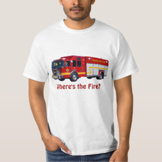 """""""Where's the Fire?"""" Red Fire Engine Fun T-Shirt"""