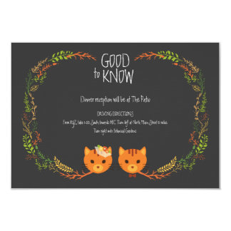Whimsical Forest Cats Wedding Information Card 9 Cm X 13 Cm Invitation Card