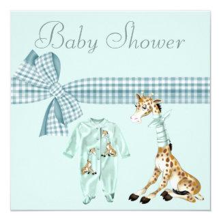 Whimsical Giraffe Blue Baby Boy Shower 13 Cm X 13 Cm Square Invitation Card