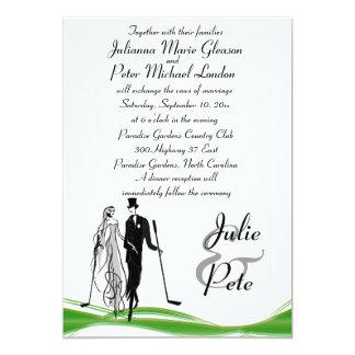 Whimsical Golfing Couple Wedding Invitations