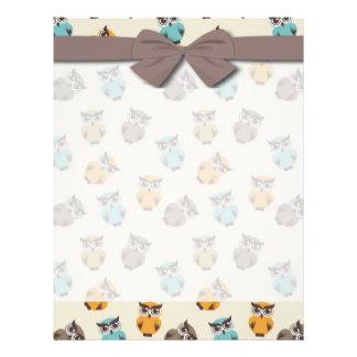 whimsical owl pattern 21.5 cm x 28 cm flyer