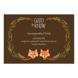 Whimsical Woodland Foxes Wedding Information Card 9 Cm X 13 Cm Invitation Card