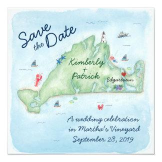 Whimsy Watercolor Wedding Map of Marthas Vineyard 13 Cm X 13 Cm Square Invitation Card