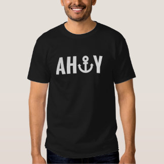 White Ahoy with anchor Tees