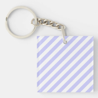 White and Light Purple Stripes. Single-Sided Square Acrylic Key Ring