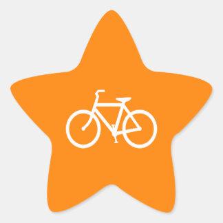 White and Orange Bike Star Sticker