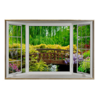 White Bay Window Illusion - Colorful Scenery Poster