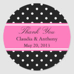 White, Black and Pink Polka Dot Pattern  Thank You Round Sticker