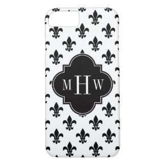 White Black Fleur de Lis Black 3 Initial Monogram iPhone 7 Case