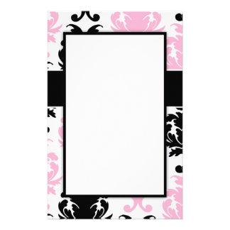 white black pink lovely bold damask stationery
