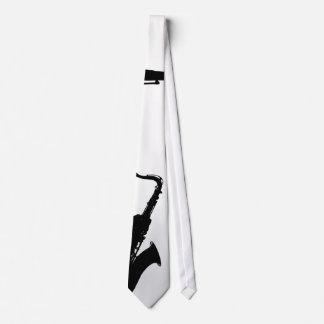 White & Black Saxophone Tie