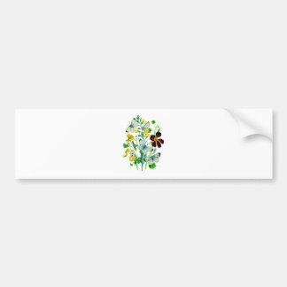 White Butterflies, Nasturtiums and WIldflowers Bumper Sticker