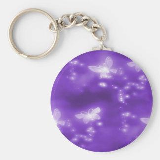 White Butterflies , Purple Background Basic Round Button Key Ring